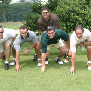Tony Siragusa practicing his Sunday night football routine at the Celebrity Golf Classic
