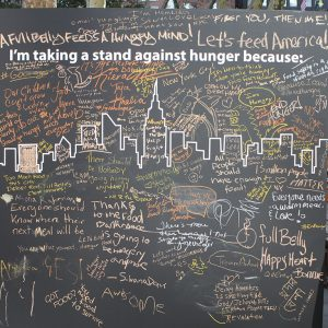 Message board with messages against hunger